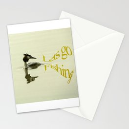 Lets go Fishing, grebe reflecting on water with text. Stationery Cards