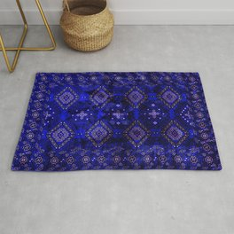 N128 - Royal Blue Traditional Oriental Moroccan Style Design  Rug