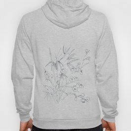 bamboo and plum flower white on blue Hoody
