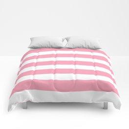 Salmon Pink & White Stripes Comforters