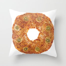 Sweet fruit pastille circular shape with slices of kiwi Throw Pillow
