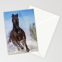 Woodstock, Connecticut - The Wild of the Winter Horses, A Portrait Stationery Cards