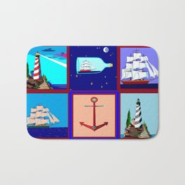 A Nautical Quilt with Ships, Lighthouses and Anchors Bath Mat