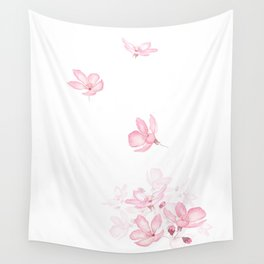 falling pink cherry blossom flower watercolor 2019 Wall Tapestry