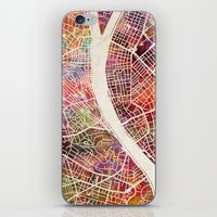 budapest iPhone & iPod Skins featuring Budapest  by MapMapMaps.Watercolors