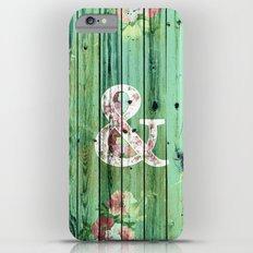 Vintage Floral Ampersand Turquoise Beach Wood iPhone 6 Plus Slim Case