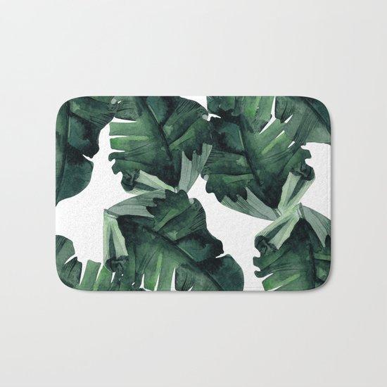 Banana Leaves Pattern Green Bath Mat