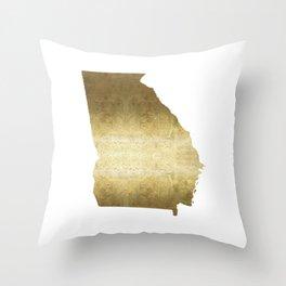Georgia Gold Foil Map Throw Pillow
