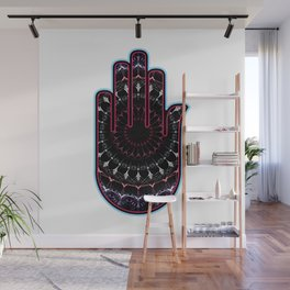 Hamsa or Fatimas hand used as a sign of protection in Middle east- Ahimsa hand for non violence popu Wall Mural