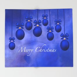 Merry Christmas Ornaments Bows and Ribbons – Blue Throw Blanket