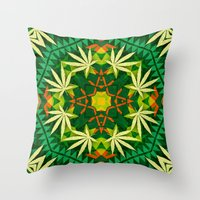cannabis Throw Pillows featuring Tribal Cannabis by GypsYonic