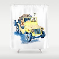 jeep Shower Curtains featuring Animal Jeep by Claire Sianna