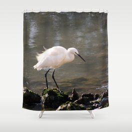 white heron bird by the river Shower Curtain