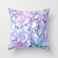 pastel Throw Pillows featuring Soft Pastel Hydrangea by Judy Palkimas