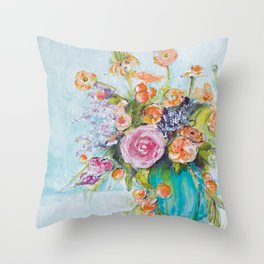 The One with the Teal Vase Throw Pillow