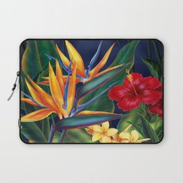 Tropical Paradise Hawaiian Floral Illustration Laptop Sleeve