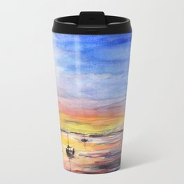 Sunset Watercolor Painting Landscape Art Travel Mug