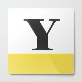 Monogram Letter Y-Pantone-Buttercup Metal Print
