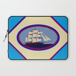 A Nautical Scene with Clipper Ship with Sky Blue Background Laptop Sleeve