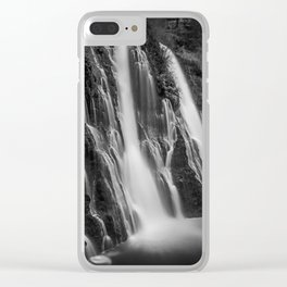 Burney Falls in Black and White Clear iPhone Case