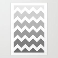 Chevron - Multi Grey Art Print