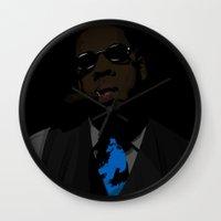 jay fleck Wall Clocks featuring Jay-Z  by Shyam13