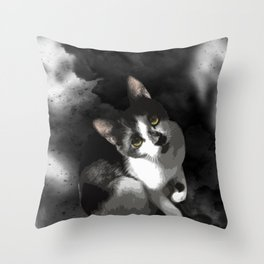 Gypsy Da Fleuky Cat and the Black Starry Night Throw Pillow
