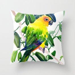Sun Conure Parakeet, jungle tropical colors, parrot yellow deep green bright colored home decor Throw Pillow