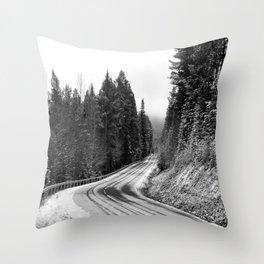Snowy Mountain Pass Throw Pillow
