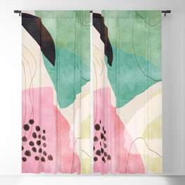 mid centruy organic shapes spring 21 /4 Blackout Curtain