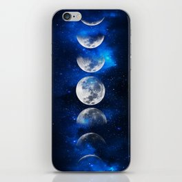 Phases of the Moon Blue iPhone Skin