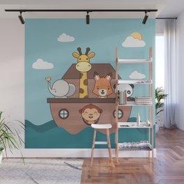 Kawaii Cute Zoo Animals On A Boat Wall Mural