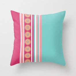 Daisy Stripe Pink Blue Yellow Throw Pillow