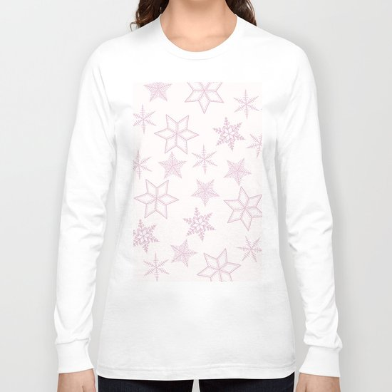 Pink Snowflakes On White Background Long Sleeve T-shirt