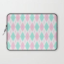 White Pink Green Pastel Argyle Pattern Laptop Sleeve