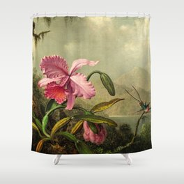 Classical masterpiece Orchids And Hummingbirds by Martin Johnson Heade Shower Curtain