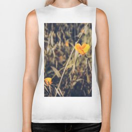 yellow poppy flowers with green leaves texture background Biker Tank