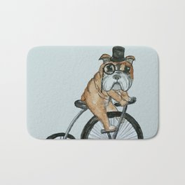English Bulldog Riding a Penny-farthing Bath Mat