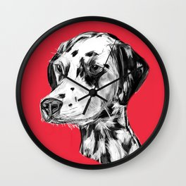 Dalmatian Red  Wall Clock
