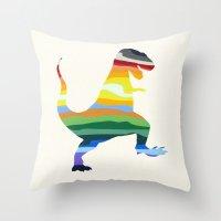 trex Throw Pillows featuring Rainbow TRex 15 by Precious Beast