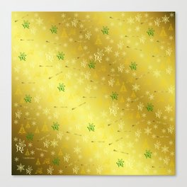 gold Merry christmas text in gold, beautiful reindeer, green fir trees, bright stars festive Canvas Print