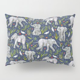 Baby Elephants and Egrets in Watercolor - navy blue Pillow Sham