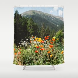 Mountain garden in Switzerland mountains Shower Curtain
