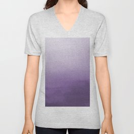 Inspired by Pantone Chive Blossom Purple 18-3634 Watercolor Abstract Art Unisex V-Neck