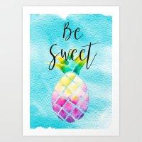 Be Sweet Pineapple - Boho Summer Tropical Watercolor Art Print