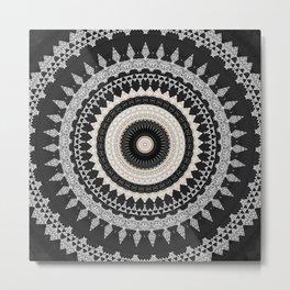 Grey Taupe Boho Mandala Design Metal Print
