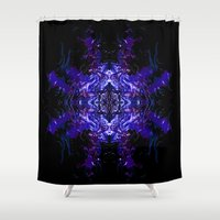 swimming Shower Curtains featuring Swimming... by Cherie DeBevoise
