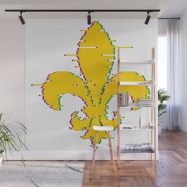 Fleur de lis. Heraldic lily. Mardi Gras. Glitch effect Wall Mural