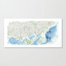 Toronto Canada Watercolor city map Canvas Print