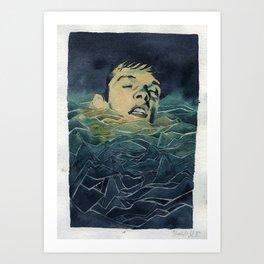 Drowning in Brainwaves- Portrait of Ian Curtis Art Print